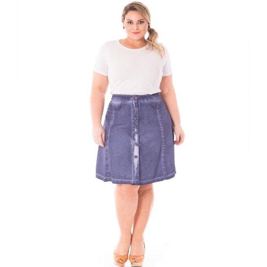 6efeca978 Saia Confidencial Extra Plus Size Jeans Midi de Cintura Alta Feminina -  Azul Escuro