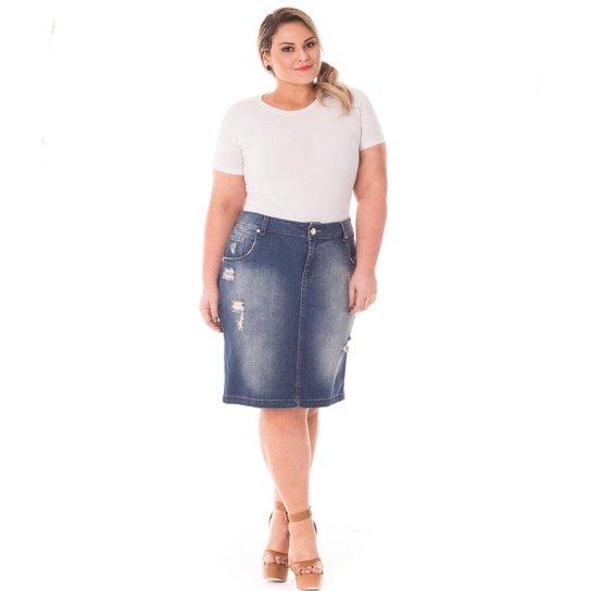 6450bb6d0 Saia Confidencial Extra Plus Size Midi Lápis em Jeans Feminina - Azul  Escuro. Loading.