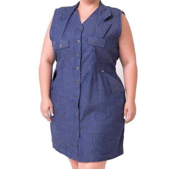 51b99f420 Vestido Confidencial Extra Plus Size Jeans Regata com Gola e Abotoamento  Feminino - Azul Escuro