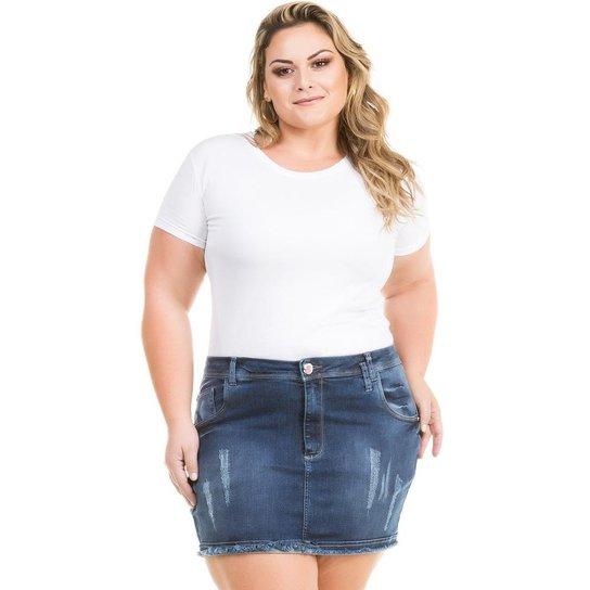 0e6882762 Saia Confidencial Extra Plus Size Jeans Curta com Elastano Feminina - Azul  Escuro