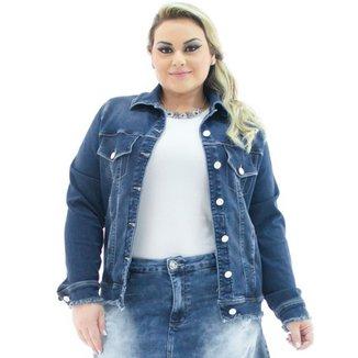 0c33b36e6 Jaqueta Jeans Confidencial Extra Plus Size Over com Barra Desfiada Feminina
