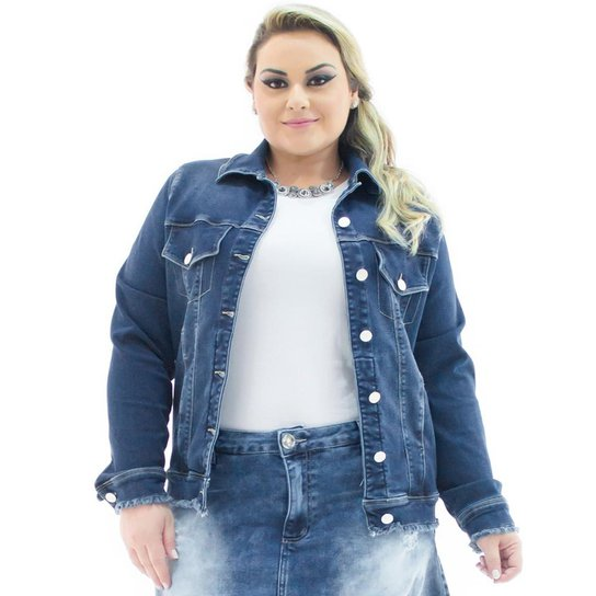 4570a377ef Jaqueta Jeans Confidencial Extra Plus Size Over com Barra Desfiada Feminina  - Azul Escuro