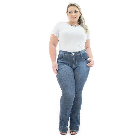 c8b304c4b9 Calça Jeans Confidencial Extra Flare Winter com Elastano Feminina - Azul  Escuro