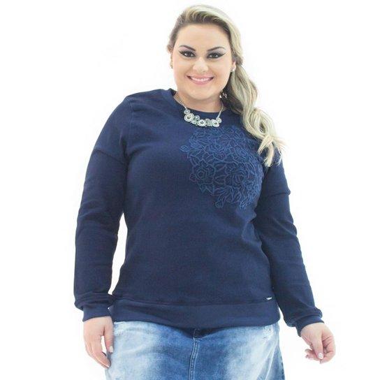 3939f5aaf8 Moletom Jeans Confidencial Extra com Bordado Plus Size Feminino - Azul  Escuro