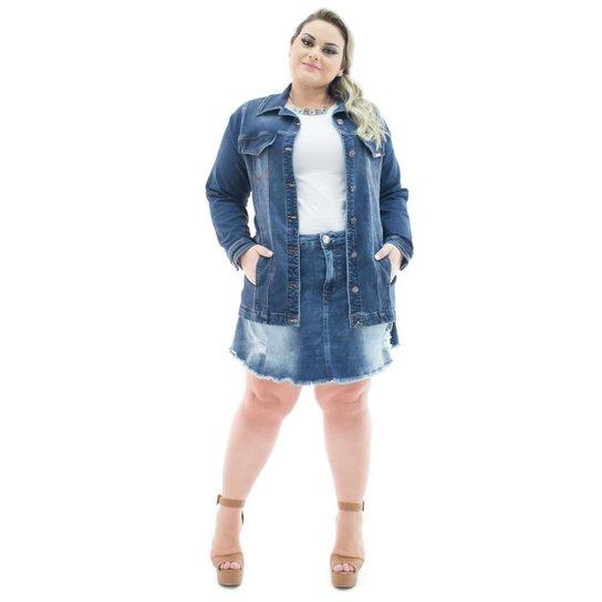 107b456272 Jaqueta Jeans Confidencial Extra Plus Size Over Alongada Feminina - Azul  Escuro