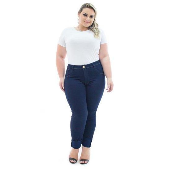 23860bfc9 Calça Jeans Confidencial Extra Plus Size Legging Cintura Alta Feminina - Azul  Escuro