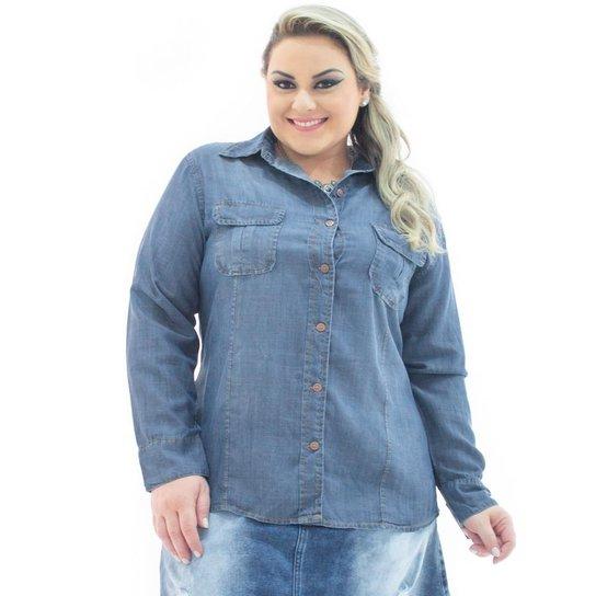 29c78f512 Camisa Jeans Confidencial Extra Plus Size Manga Longa com Bolsos Feminina -  Azul Escuro