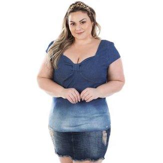 Blusa Feminina Jeans Vinil com Elastano Plus Size 1a35a968cca56