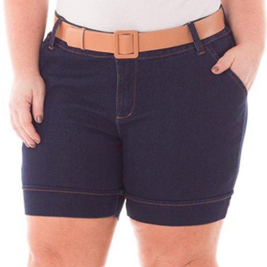 09184aec1 Short Jeans Plus Size Cintura Alta e Barra Dobrada Feminino - Azul Escuro