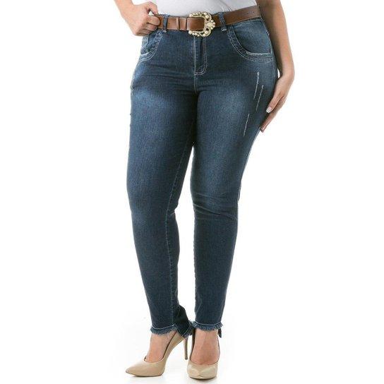 51c7733b6 Calça Jeans Feminina Confidencial Extra Skinny com Barra Desfiada Plus Size  - Azul Escuro