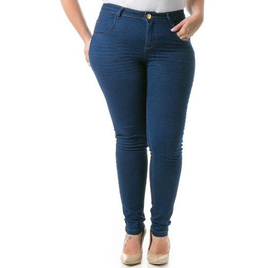3764cd89f Calça Jeans Feminina Confidencial Extra Cigarrete Skinny Plus Size - Azul  Escuro