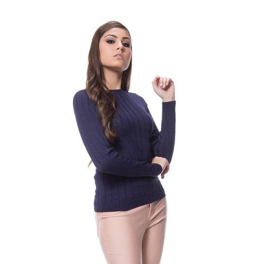 abe133063c Blusa Logan Tricot Cacharrel Feminina - Azul Escuro