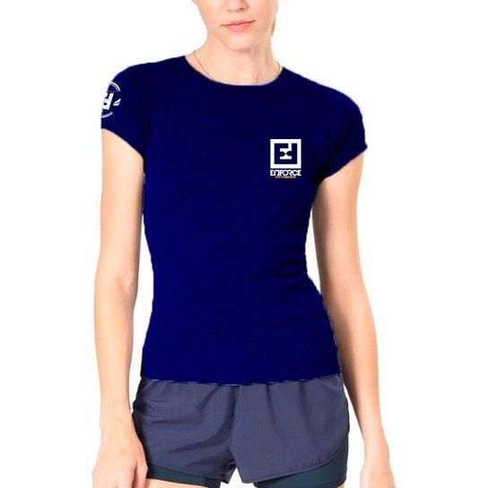 707a6728b4 Camiseta Baby Look Feminina de Treino - Enforce Fitness-GG-Cinza - Azul  Escuro