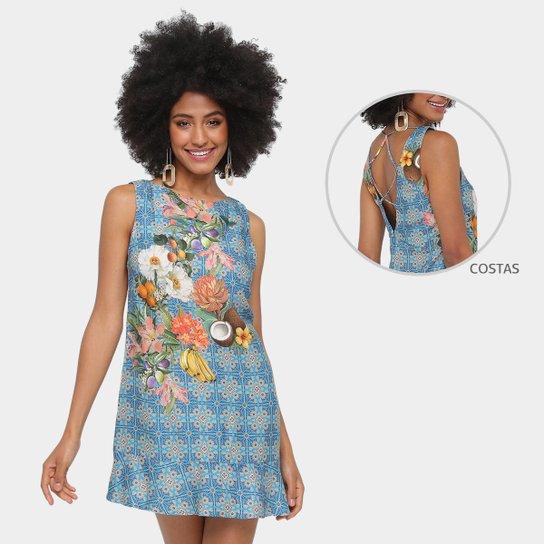 3f97dd234 Vestido Farm Evasê Curto Decote Costas Estampado - Azul e Bege