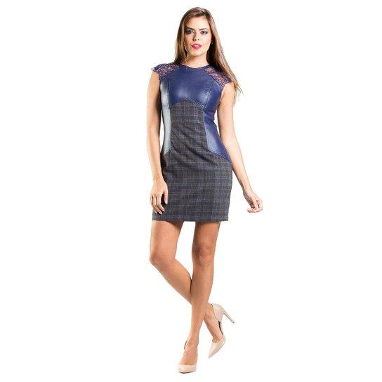 9191437c6be Vestido Renda Recortes Couro Xadrez Lume - Azul Escuro - Compre ...