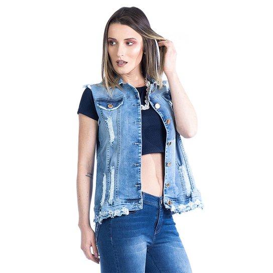 Colete Carlan Jeans Feminino Destroyed - Azul Escuro - Compre Agora ... c7fe33d169fb2