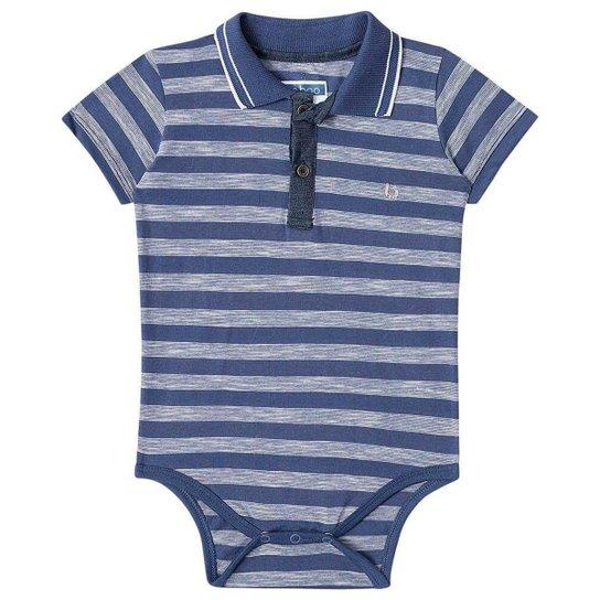 1e3190b36b Body Bebê Luc Boo Gola Polo Listras Masculino - Azul Escuro - Compre ...