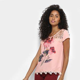 53325eebc6 Blusa Lemise Floral Renda Feminina