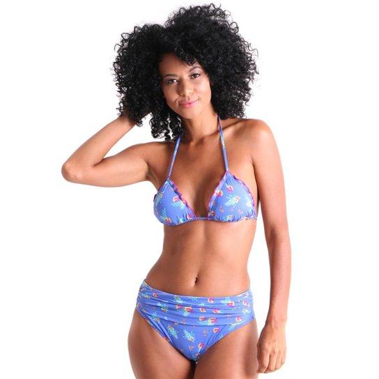 87353aade Calcinha Biquíni Líquido Franzido Frente Aloha Feminina - Azul Escuro