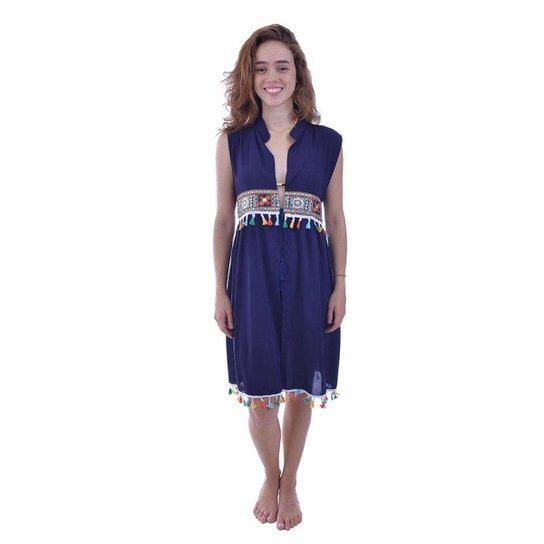 281853f22 Saída De Praia Shopping Bali Com Aplicação De Tassel - Azul Escuro ...
