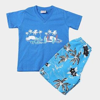 513049b625900 Conjunto Camiseta Surf + Bermuda Coqueiros Infantil Candy Kids Masculino
