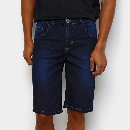 f5bd63fd8 Bermuda Jeans Preston Estonada Elastano Reta Masculina - Azul Escuro ...