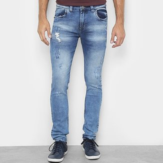 83b356cb2 Calça Jeans Slim Preston Lavada Destroyed Masculina