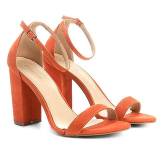 000f7d17f Sandália Couro Shoestock Salto Grosso Naked Feminina