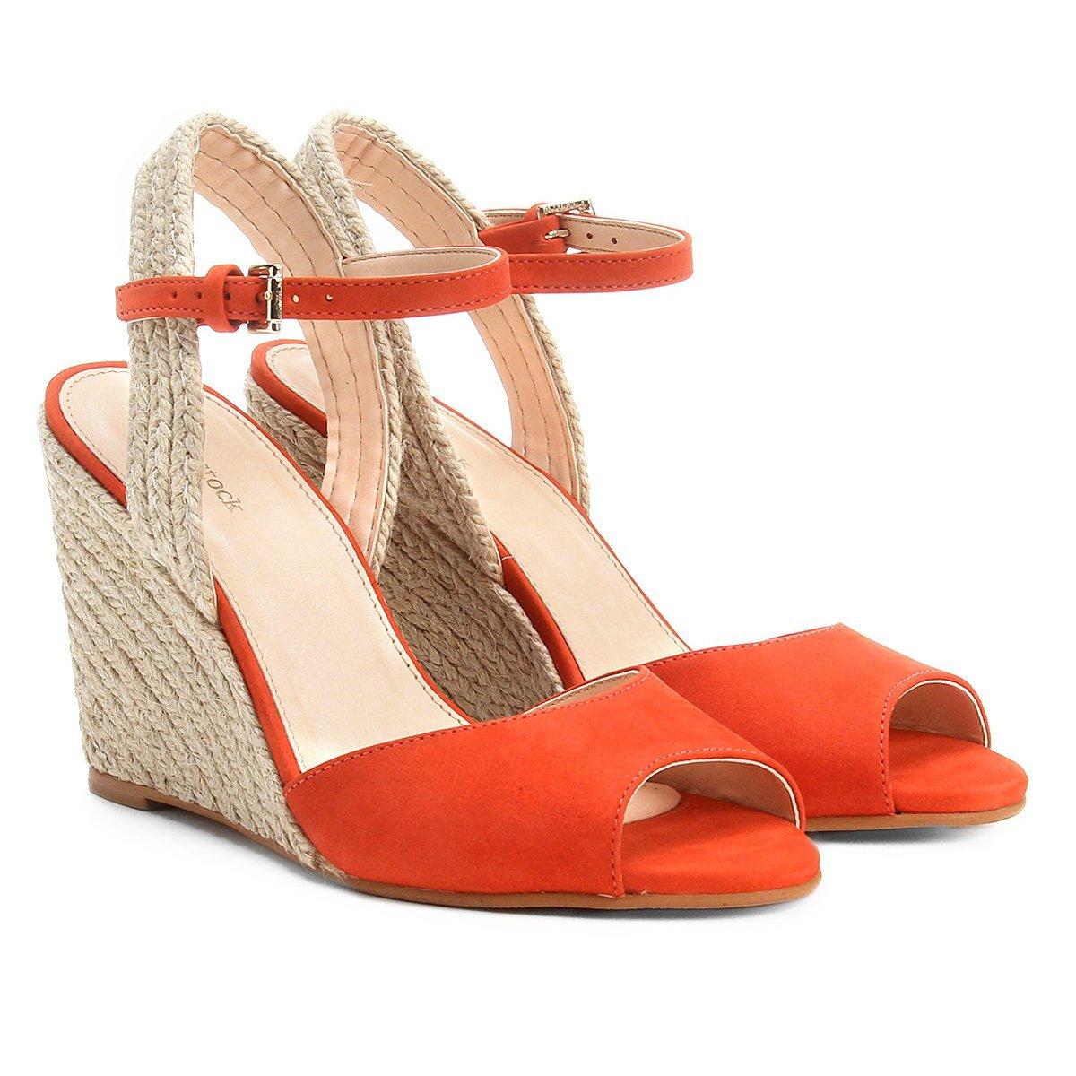 fe13e48e93 Sandália Anabela Couro Shoestock Corda Feminina