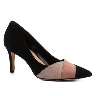 6ef1b45643 Scarpin Shoestock Salto Médio Nobuck Recortes