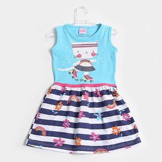 784ebc702e Vestido Infantil For Girl Evasê Listrado Floral