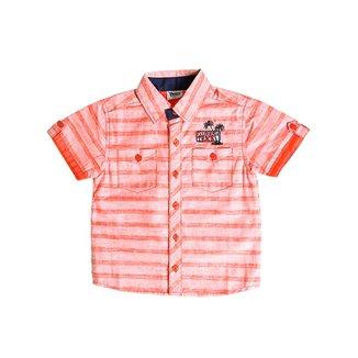 44acd5a4d5b Camisa Manga Curta Infantil Para Menino Salmão