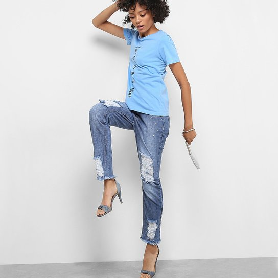 356320b81b Calça Jeans Boyfriend Drezzup Destroyed Pérolas Feminina - Azul Escuro