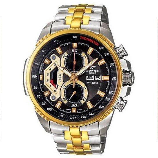 90890c34718 Relógio Casio Masculino Edifice Cronógrafo Ef 558Sg 1Av - Prata+Dourado
