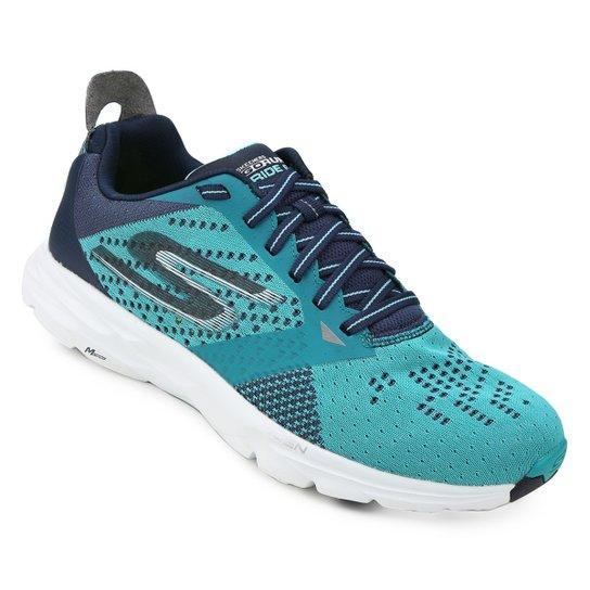 Tênis Skechers Go Run Ride 6 Feminino - Azul e Verde Água - Compre ... 17432ae9e0e34