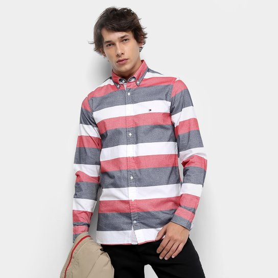 f88f4fab12e9 Camisa Manga Longa Tommy Hilfiger Listrada Slim Block Oxford Masculina -  Branco e Azul