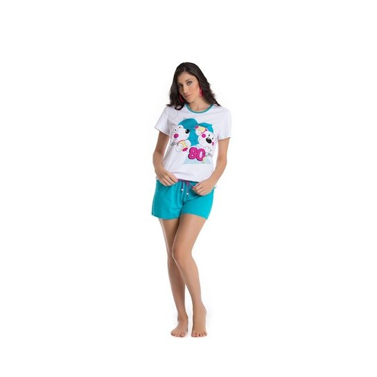 b0adc037b8ad60 Pijama curto em malha 100% algodão Recco - Branco e Azul