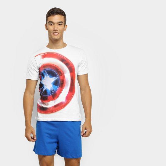 3ef35aca228b39 Pijama Evanilda Capitão América Malha Curto Tal Pai Masculino - Branco e  Azul