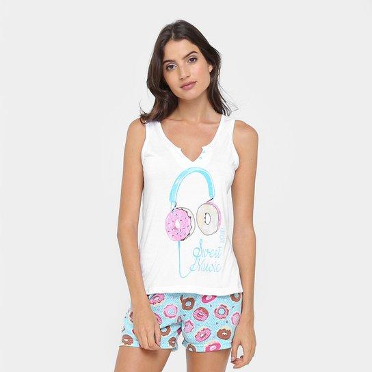 947b0de6153b3f Pijama Curto Victory Short Doll Donuts Feminino - Branco e Azul