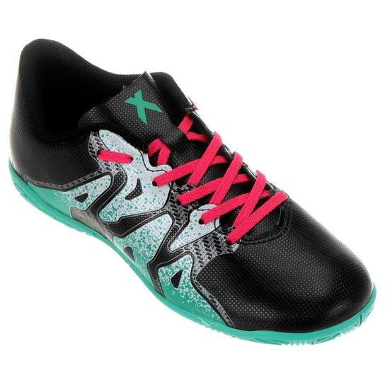 Chuteira Futsal Juvenil Adidas X 15.4 IN - Preto e verde - Compre ... 21c15f63dc61d