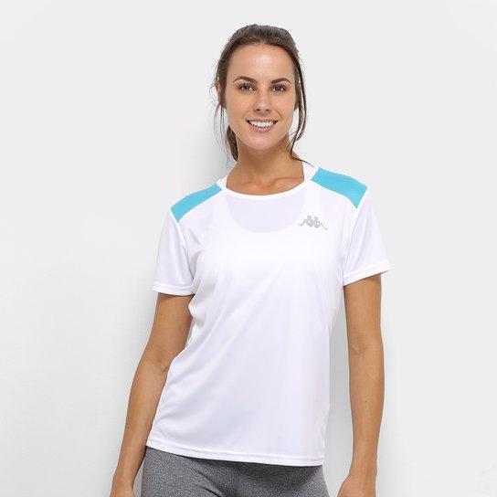 Camiseta Kappa Fluid Feminino - Branco e Azul - Compre Agora  60b163972d9ab
