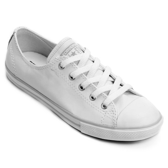 24c41b9a00 Tênis Couro Converse All Star Ct As Dainty Leather Ox Feminino -  Branco+Cinza
