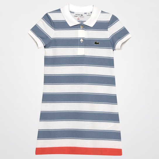 fdd02795f03 Vestido Lacoste Infantil - Branco+Azul Claro