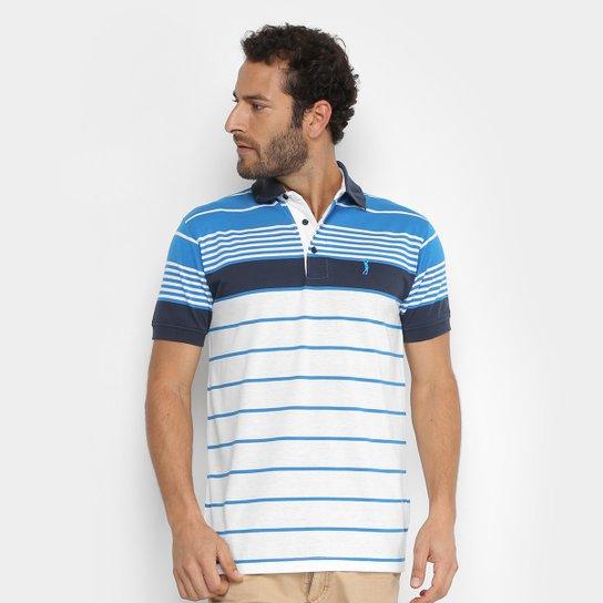 Camisa Polo Aleatory Fio Tinto Listrada Masculina - Branco e Azul ... 2561b4e8d3705