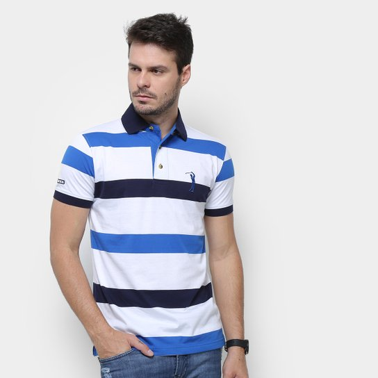 3af36447ac Camisa Polo Aleatory Listrada Fio Tinto Masculina - Azul e Marinho ...