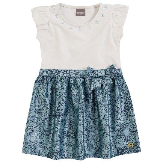 1c07dab8812ff Vestido Infantil Brandili Cristal - Branco e Azul - Compre Agora ...