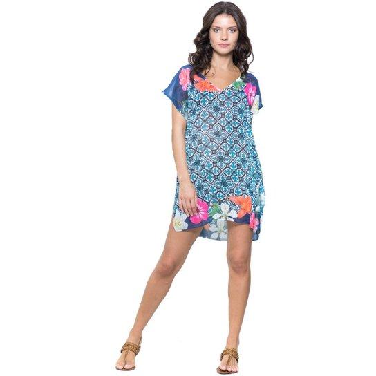 494745cc3 Saída de Praia 101 Resort Wear Fenda Azulejo - Branco+Azul