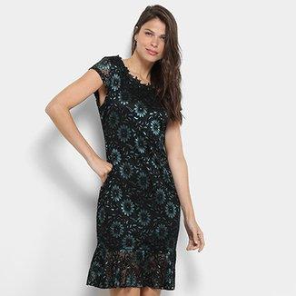 ea4629fc2 Vestido Lily Fashion Curta Peplum Detalhe Babado Renda