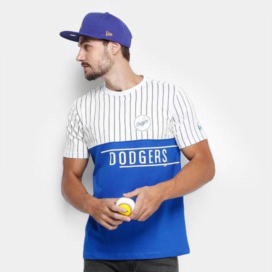 9e04c7143 Camiseta MLB Los Angeles Dodgers New Era 21 Stripe Team Masculina - Branco +Azul
