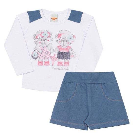 Conjunto Infantil Blusa Bear em Cotton e Shorts Feminino - Branco+Azul 348420ec9138c